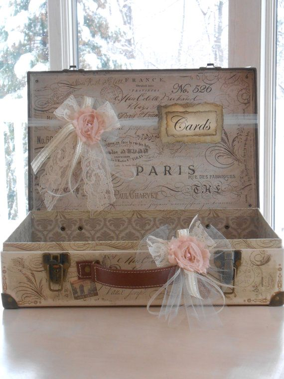 Suitcase Wedding Card Holder / Vintage Paris Themed by TheLaceMoon