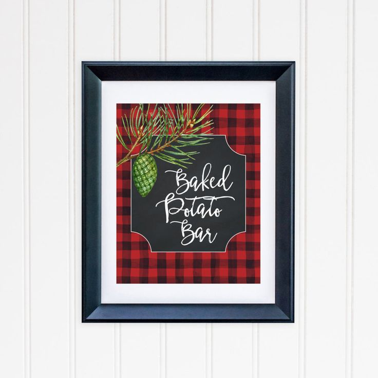 Baked Potato Bar Party Table Sign Printable Buffalo Plaid Table Sign Food Party Sign Buffet Table Sign Red Black Lumberjack Plaid 112 by MossAndTwigPrints on Etsy