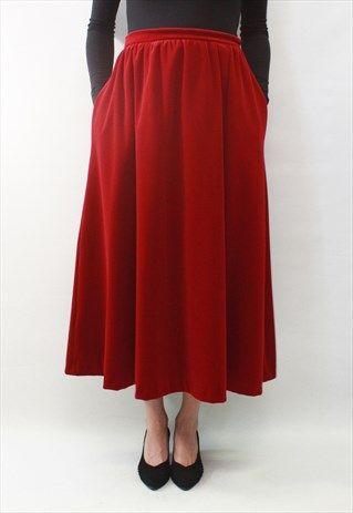 Vintage+80'+Amazing+Beautiful+Velour+Red+Midi+Skirt