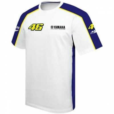 "Valentino Rossi Yamaha 2013 Merchandise  Valentin Rossi 2013 '46' Yamaha T-Shirt for the 2013 Moto GP season.  Finished in a contrasting White and Blue.  This Valentino Rossi 2013 46 Yamaha T-shirt celebrates Rossi's return to the Yahama team for the 2013 season after 3 years at Ducati. This T-shirt has contrast detailing down the sleeves and sides and features ""The Doctors"" iconic #46 and Yamaha logo on the chest and sleeves."