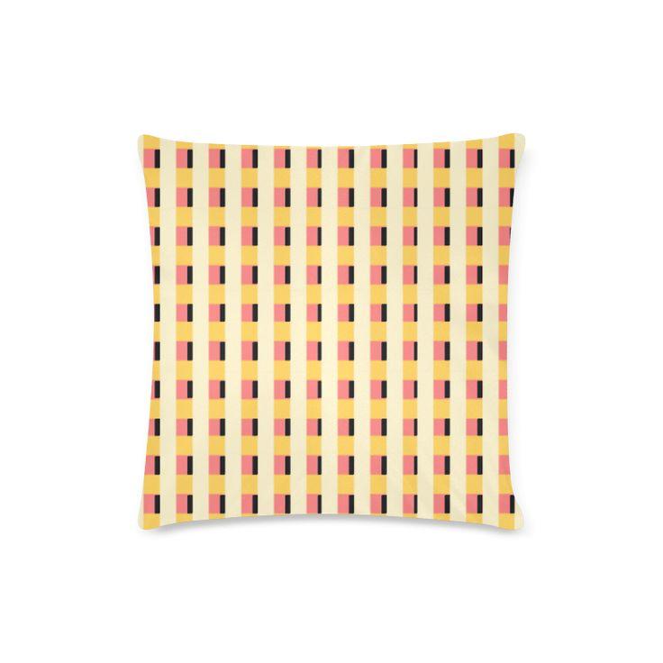 Yellow Cheque Weave Custom Zippered Pillow Case 16