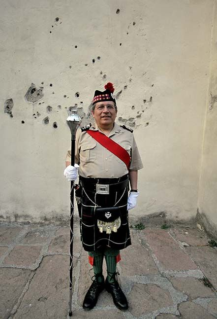 El primer domingo de cada mes, una banda de gaitas ofrece una exhibición a las afueras del Museo de las Intervenciones para honrar a los irlandeses que combatieron con México en la guerra contra Estados Unidos en 1847