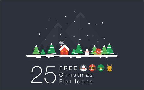 非常にかわいくデザインされたクリスマス用の無料アイコン素材 -Christmas Flat Icons