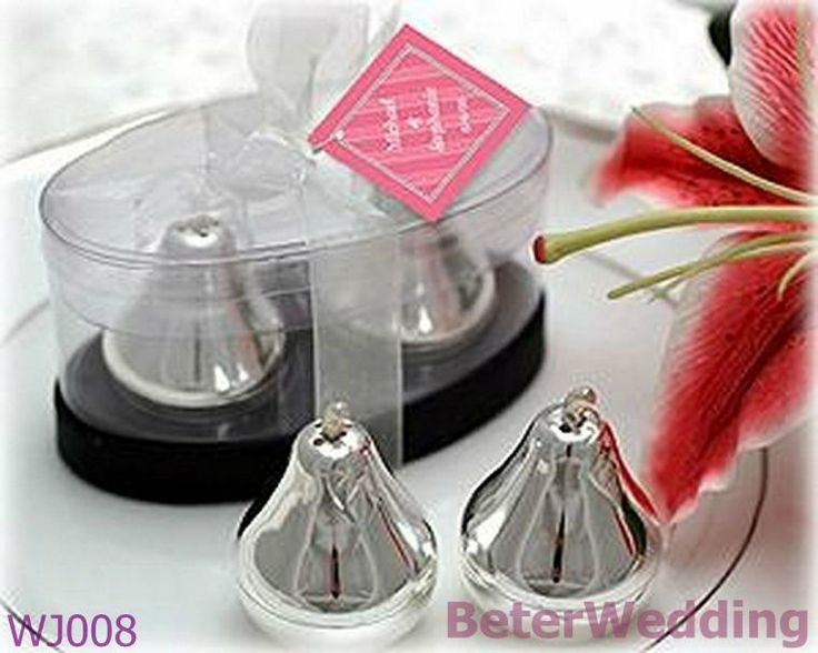"""Silver Plated """"The Perfect Pair"""" Pear Salt and Pepper Shakers in Gift Box Wedding Gift WJ008 /Wedding Favor"""