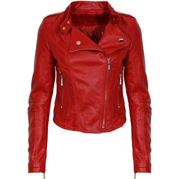 Red Leather Look Biker Jacket ❤ liked on Polyvore