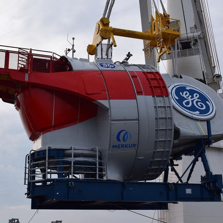 Our version of Route 66. A look at the journey of 66 #GE Haliade 150-6MW #windturbines as they make their way to Merkur offshore wind farm. First stop: the loading dock in Saint-Nazaire France pictured here. Once loaded our Haliade turbines will head to Emshaven Netherlands before reaching their final destination in the North Sea. When this 400MW offshore wind farm comes online it will be able to power nearly half a million homes in Germany.  #renewableenergy #power #energy #sustainability…