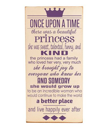 Take a look at this Cream & Purple 'Once Upon a Time' Wall Art by Vinyl Crafts on #zulily today!