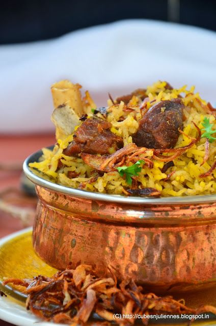 GOSHT AKHNI PULAO - Cubes N Juliennes   Akhni or Yakhni is the bouillon or stock prepared by boiling the mutton/chicken/beef with seasonings and  water. Akhni pulav is basically a Kashmiri dish in which rice is simmered with mutton stock and yoghurt.