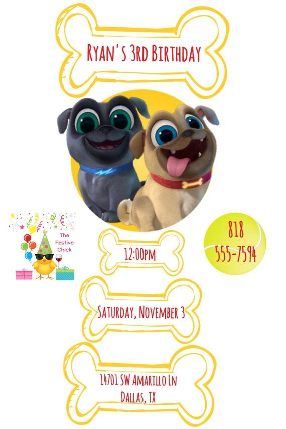 Puppy Dog Pals Invitations Rolly Bingo Disney Junior