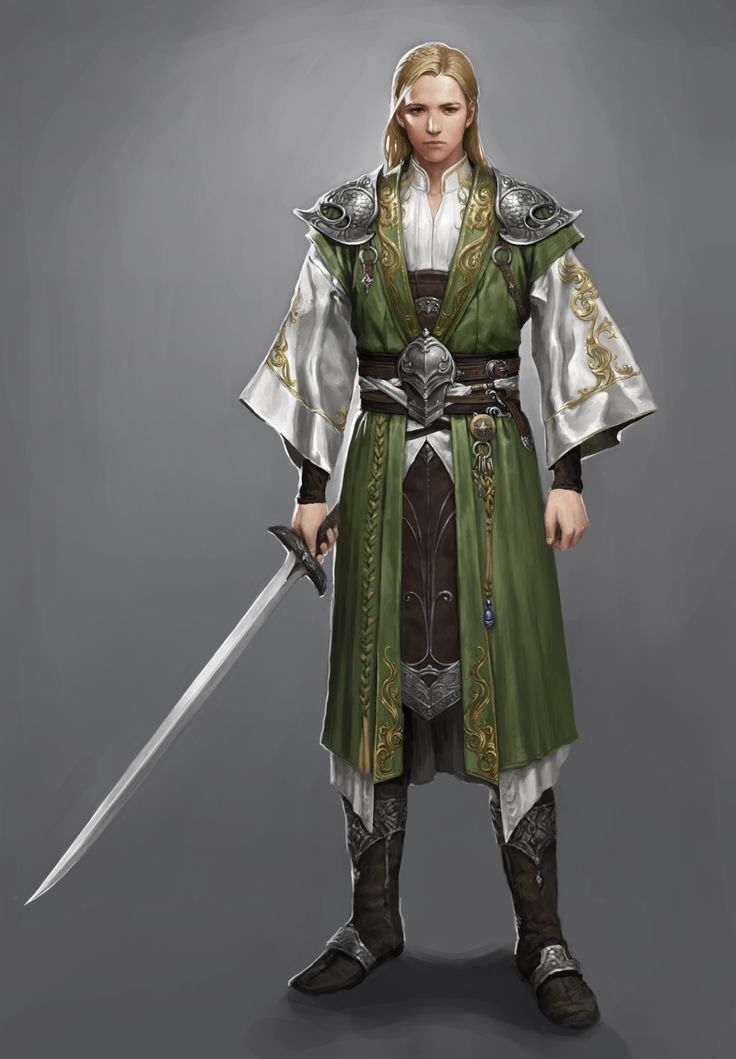 Elf knight in oriental clothes.