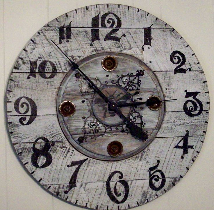 """28"""" clock cable spool center and pallet wood. made by rose ..."""