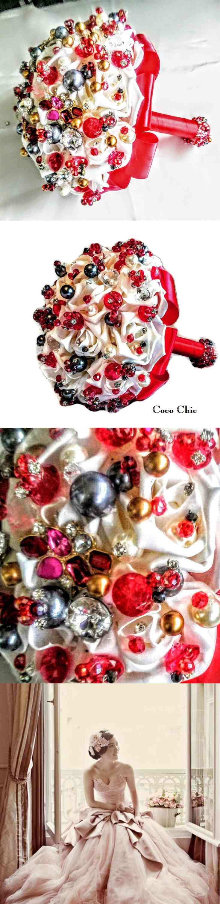 Brooch Bouquet, Red Crystals Rhinestones, Button Bouquet, Brides Wedding Bouquet, Bridal Bouquet, Brides Bouquet, Brooch Bouquet, Alternative Bouquet, Bridesmaids, Red Crystals tis gourgaus bouquet is very special If you want to stand out from the crowd and have something just that little bit different on your wedding day,. Each button bouquet is handmade using a (...) (via pushapin.com)
