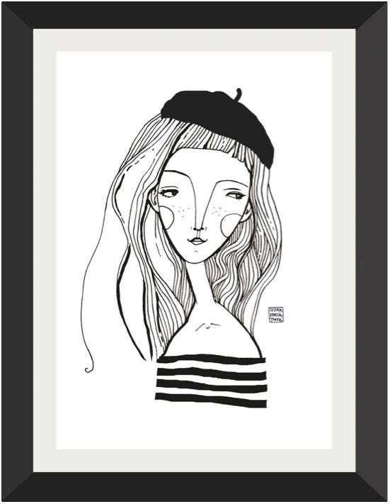 Dívka v baretu Digitální tisk autorské ilustrace, formát A3, hldký bílý papír vyšší gramáže 250g/m2. Vhodný k zarámování, signováno. Obrázek jedodáván bez rámu a pasparty. Vyobrazení je pouze ilustrační.