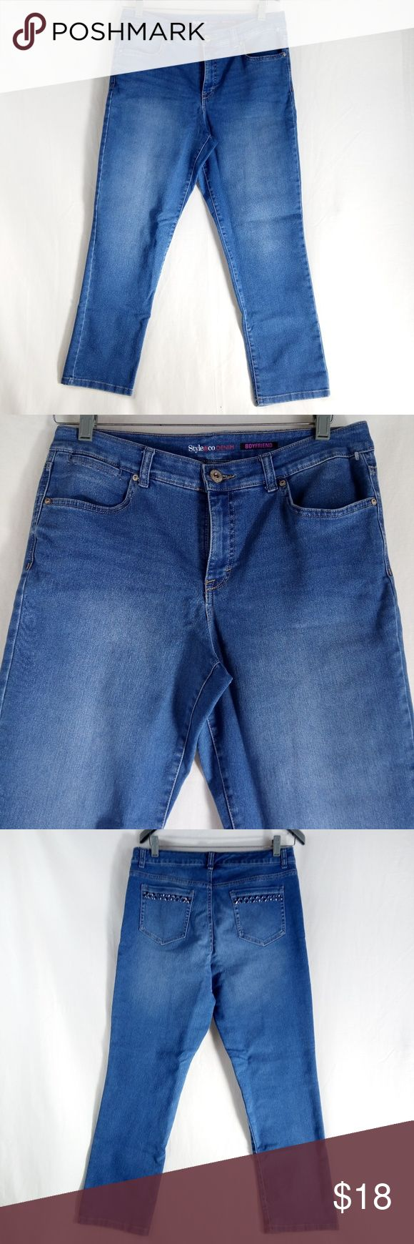 """Style & Co Boyfriend Blue Jeans Size 12 Stretch Clean good condition.  MEASURMENTS::  WAIST: 34""""  HIPS: 19""""  INSEAM: 28""""  Hi! Thank you for shopping with us at Shebrew Trading Store on Poshmark. Please review photos above and measurement details which will answer many of your sizing questions. If you still have a question, please contact us and we will be very happy to assist you further.   We ship same day or next business day, so you receive your purchase as quickly as possible. We hope to…"""