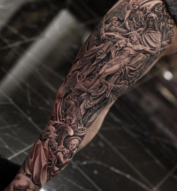 Black and grey ink leg piece by Jun Cha