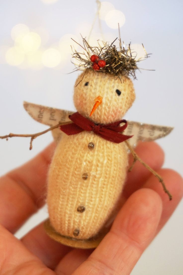 Tiny Handmade Snowman Angel, handmade snowmen, vintage inspired snowmen, angel ornaments, by Carynbay on Etsy