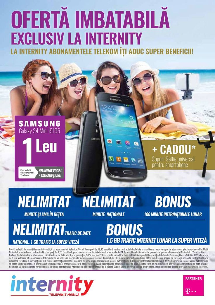 Catalog Internity Abonamente Telekom la oferte imbatabile in luna August 2015! Oferte: Samsung Galaxy S4 Mini i9195 la 1 leu cu Telekom Nelimitat Voce L.