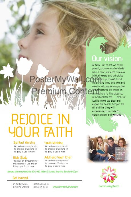 Create amazing church flyers by customizing our easy to use templates. Add your content and be done in minutes. Free downloads. High quality prints.