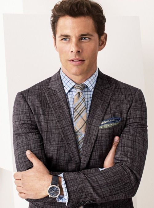 Hot Male Stars in a Suit. Westworld's James Marsden looks great in this three-piece Plaid ensemble. Follow rickysturn/mens-fashion