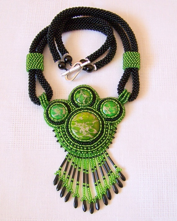 Statement Embroidery Pendant Necklace