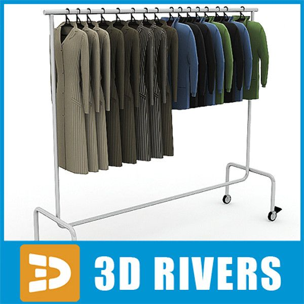 3dsmax metal clothes display rack - Clothes display rack 03 full by 3DRivers... by 3DRivers