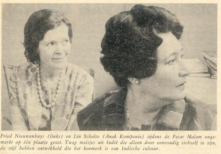 Fried Nieuwenhuys (eega van Rob) en Lin Scholte. Uit Tong Tong.