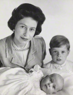 Another shot of the Queen with Prince Andrew and baby Prince Edward.