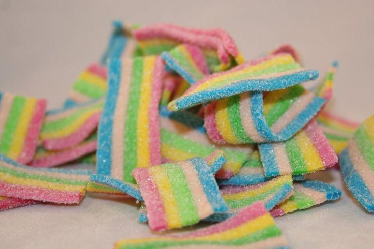 rainbow bites Fizzy assorted fruit flavoured rainbow coloured belts.