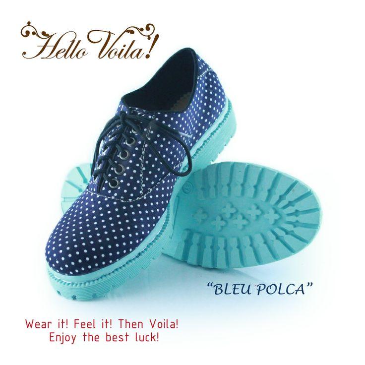 bleu polca  #oxfords #vintage #handmade #fashion #polcadot #rope #polca #dot #voila #boot #docmart #blue