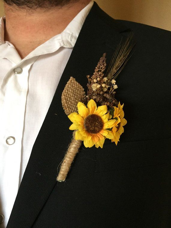 Rustic Sunflower Boutonnière * Summer – Fall Wedding Boutonniere or Corsage for Outdoor – Indoor – Country – Farm – Natural