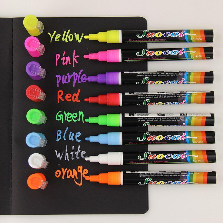 1 قطع السائل الطباشير علامة للمسح متعدد الألوان فسفورية أدى كتابة متنها زجاج النافذة الفن 8 ألوان أقلام ماركر