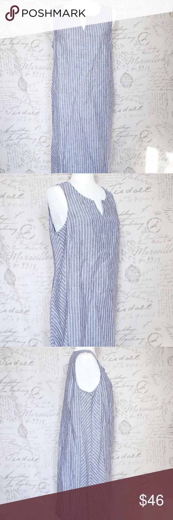 """J. Jill Linen Gray White Stripe Dress MP NEW J. Jill Sleeveless Dress 100% Linen  Gray and White Striped   Petite Medium  NEW with tag  Measurements taken with garment flat on table. Armpit to armpit: 19.5"""" Length: 36.5"""" J. Jill Dresses Midi"""