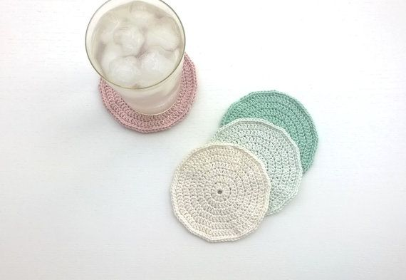 Coasters Crochet Coasters Drink Coasters by AGirlNamedMariaDK #coasters #coaster #drink #beverage #party #supplies #home #decor #entertaining #tablesetting #decorating #dinner #table #guests #glass #mug #cup #pink #white #turquoise