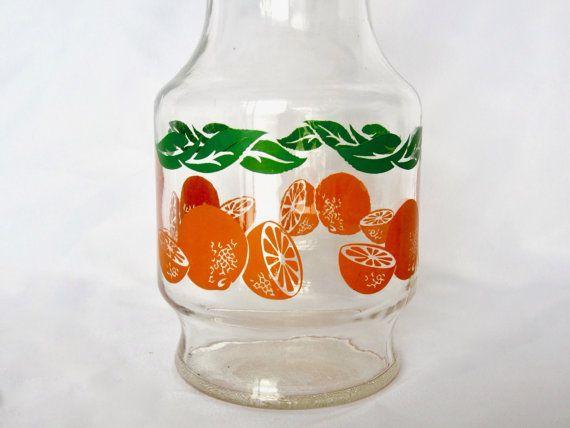 Vintage ANCHOR HOCKING Orange Juice Glass Carafe Pitcher