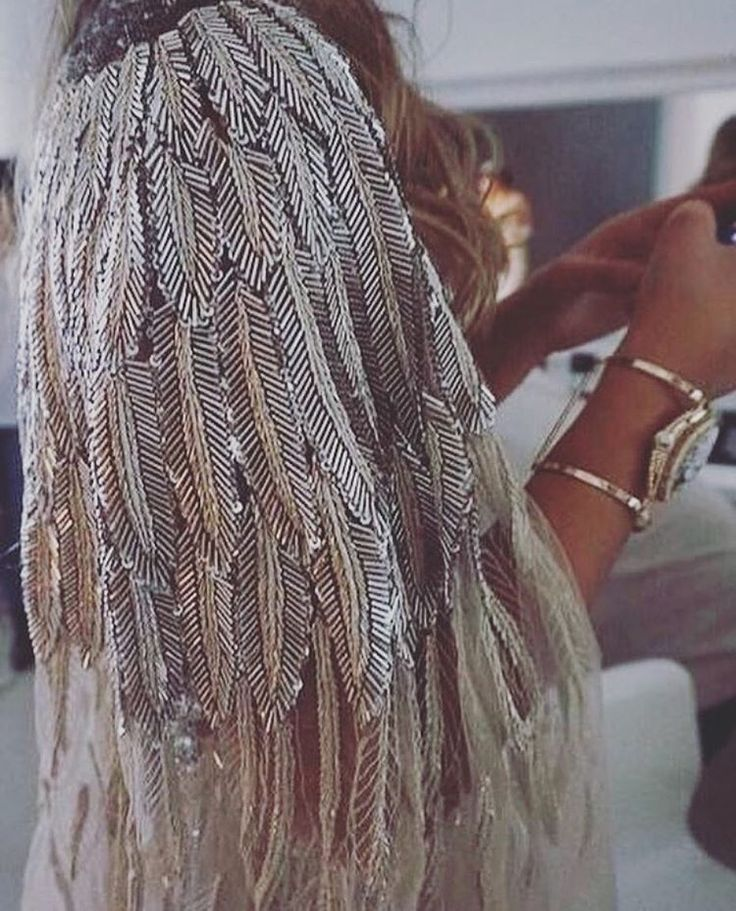 Feather sequin cape