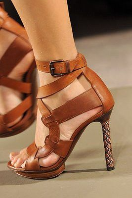tan leather heels.