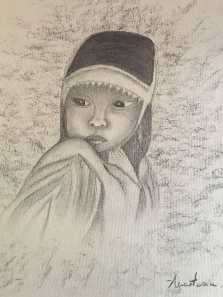 """""""Fanciulla del Vietnam"""" Carboncino su carta"""