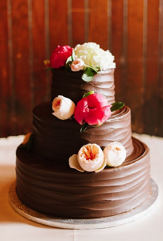 Featured Photographer: Natalie Franke Photography; Delicious looking three tier chocolate textured wedding cake