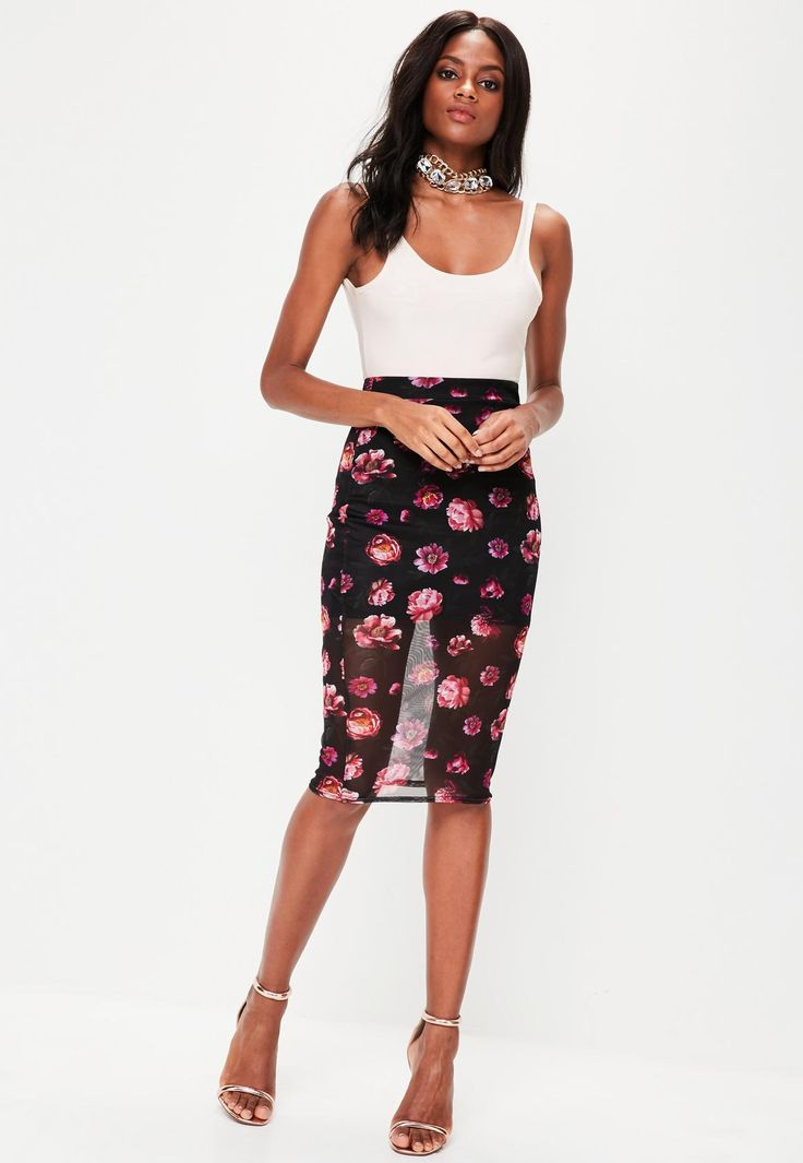 Missguided - Black Mesh Floral Midi Skirt