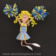 Cheerleader Craft Made Plastic Spoons and Paper from www.daniellesplace.com