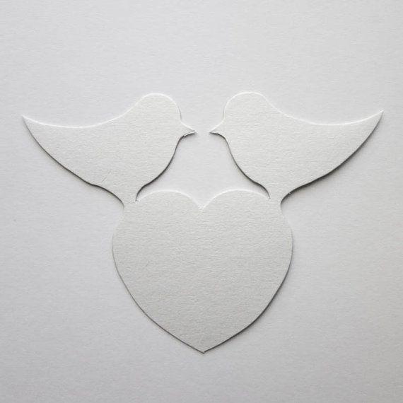 Love Birds & Herz White Pearl nennen Tischkarte Weinglas