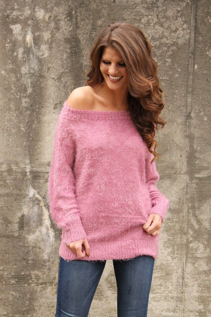 Rose Fuzzy Knit Sweater New Styles Sweaters Sweater Weather