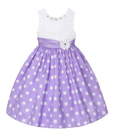 Look what I found on #zulily! Lilac & White Polka Dot Dress - Girls #zulilyfinds