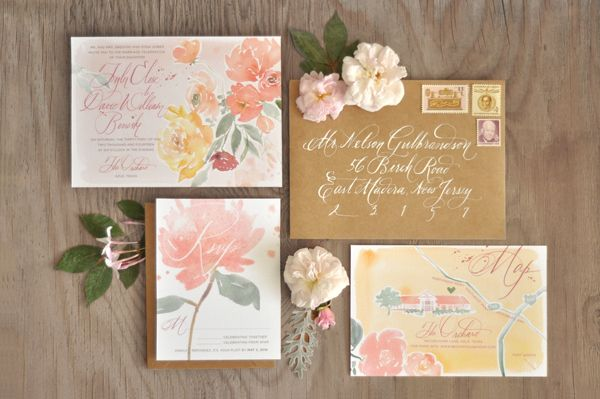 Floral Watercolor Calligraphy Wedding Invitations via Oh So Beautiful Paper: http://ohsobeautifulpaper.com/2014/03/tyler-davids-floral-watercolor-wedding-invitations/ | Design + Calligraphy + Logo: Julie Song Ink #calligraphy #floral #watercolor #wedding