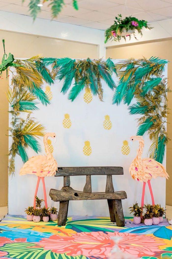 Flamingo photo booth from a Tropical Flamingo Paradise Party on Kara's Party Ideas | KarasPartyIdeas.com (5)