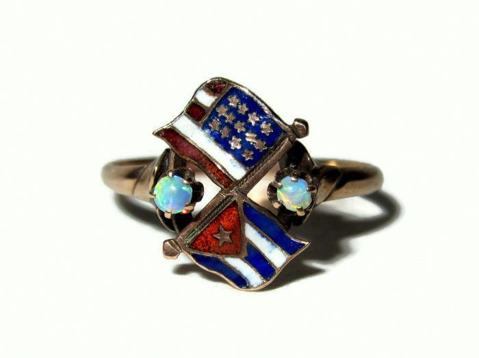 Antique 1898 Victorian Gold Opal Patriotic Spanish American War American Flag Ring Super Rare & Beautiful kbcate on ebay