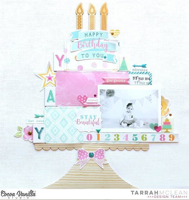 Here's a layout from Tarrah that certainly takes the cake! This one was created using our brand new Make a Wish collection, and with all those delicious layers we think it looks almost good enough to eat! Tarrah has also designed an exclusive cut file for everyone, so that you can create your own masterpiece too! You can download it via our blog. @tarrahm #cocoavanillastudio #cocoa_vanilla #scrapbook #layout #MakeaWish #embellishments #cutfiles #papercraft #memorykeeping #birthday