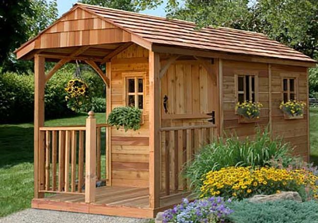 The 8×12 Santa Rosa Garden Shed with Porch is an ideal garden shed for mom, a playhouse for the kids, or a retreat for dad. Versatile and functional, this attractive cedar shed will add character to a