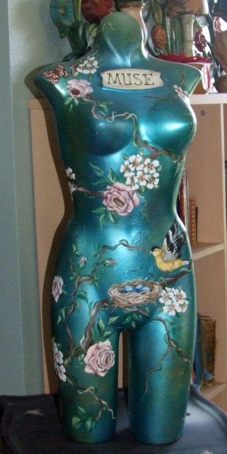 Vintage Lingerie Mannequin hand painted.