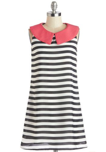 Breezy Afternoon Dress - Pink, Stripes, Casual, Sleeveless, Good, Collared, Short, Black, White, Vintage Inspired, 60s, Mod, Tent / Trapeze, Woven